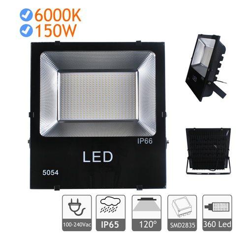 Proyector LED 150W luz blanca fría 6000K exterior negro