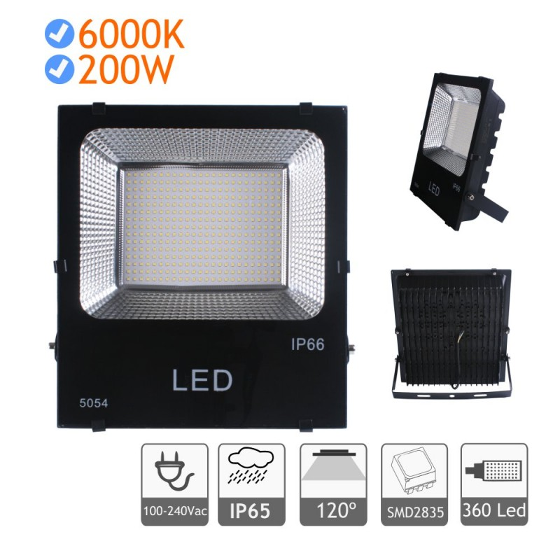 Proyector LED 200W luz blanca fría 6000K exterior negro
