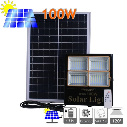 Proyector led solar 100W panel separado bateria litio