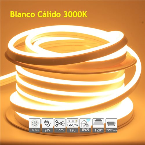 Neón led flexible simple 24V 3000K 12mm 120 led metro 9W 25m