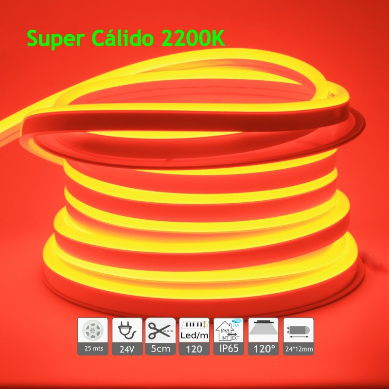 Neón led flexible simple 24V 2200K 12mm 120 led metro 9W 25m