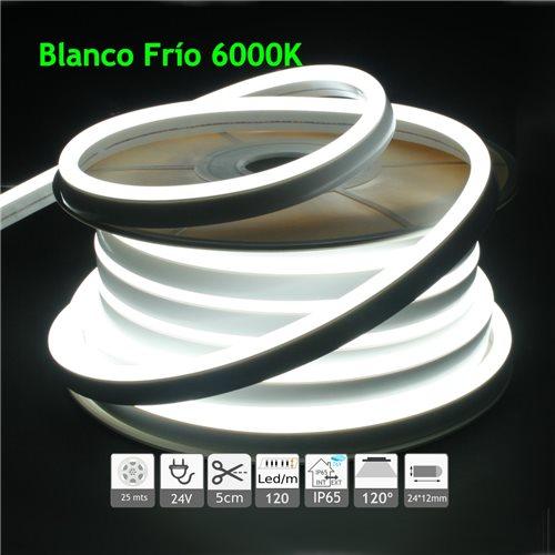 Neón led flexible simple 24V 6000K 12mm 120 led metro 9W 25m