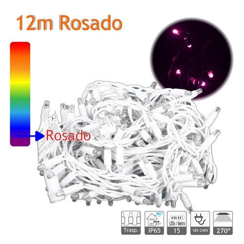 Guirnalda Led 12m 10W rosado Cable Blanco Capsula Trasparente 220V