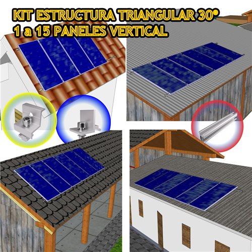 Kit estructura Coplanar para 1 a 15 panel solar en Vertical