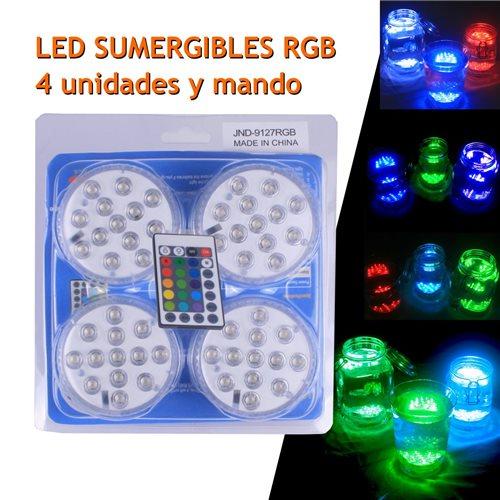 Pack 4 unidades LEDS RGB sumergibles con un mando