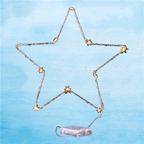 Figura estrella alambre dorado 30cm 10 led lenteja 3000K 3x pilas AA