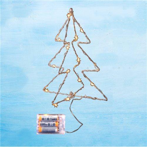 Arbolito navidad led alambre dorado 30cm 15 led lenteja 3000K 3x pilas AA