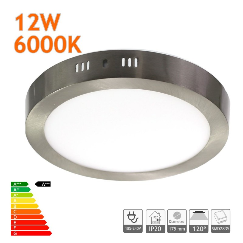 Downlight LED 12W 6000K redondo superficie acero