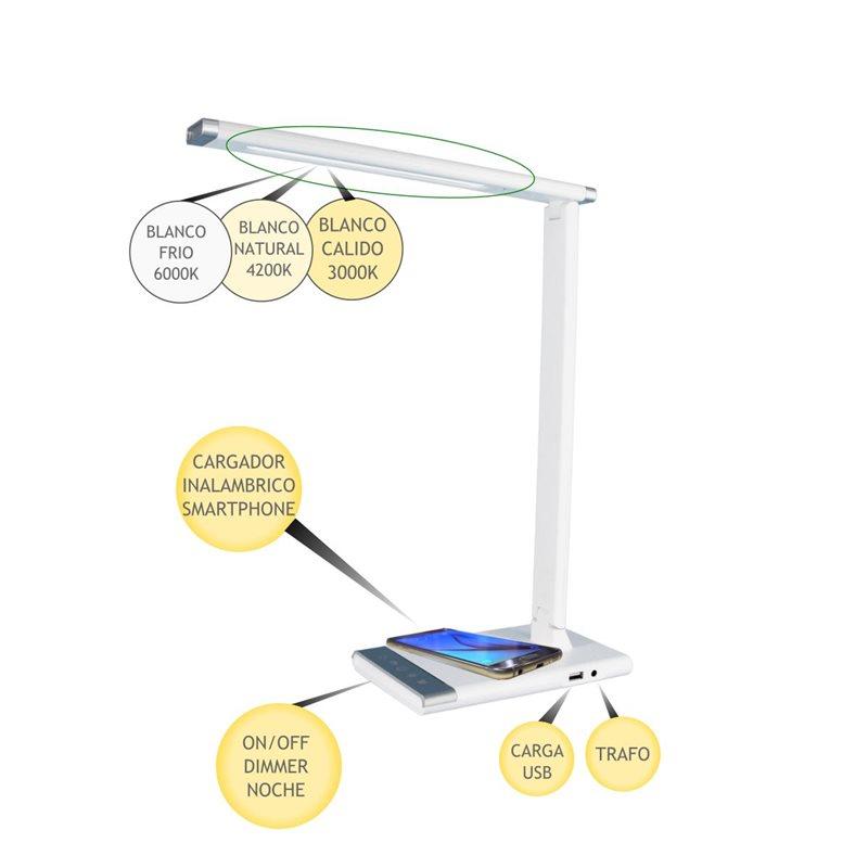 Lámpara mesa LED 12W regulable y orientable con carga inalámbrica