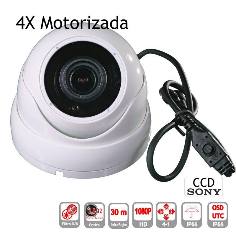 Mini Domo 4 en 1 1080P exterior 2,8-12mm lente motorizada IR OSD blanca