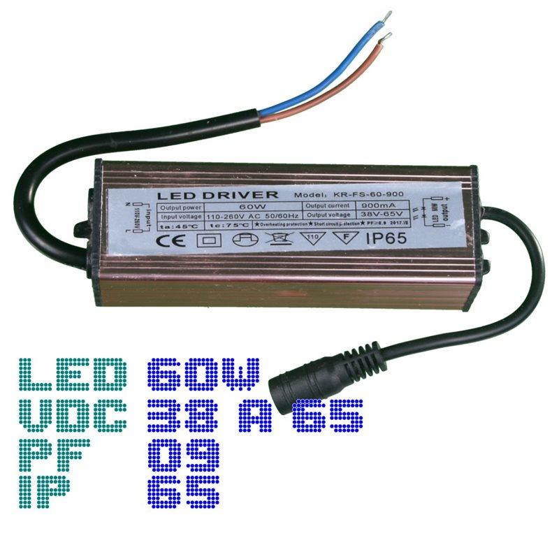 Driver panel led 60W 900mA 38-65V PF0.9 IP65