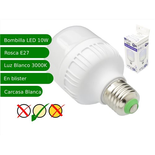 Bombilla LED 10W rosca E27 luz 3000K blanco cálido
