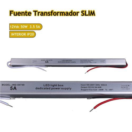 Fuente trafo 220V-12V 5A 60W IP20 Slim