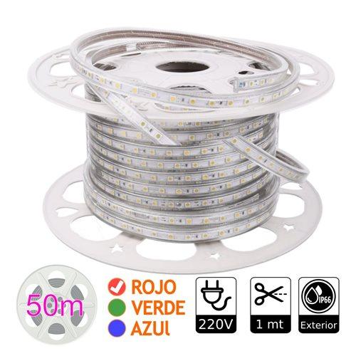 Tira de led 220V ROJO exterior 10w metro bobina 50 metros