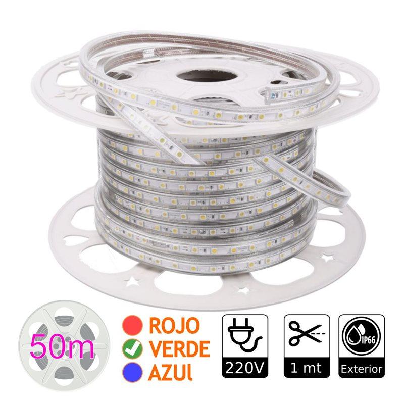 Tira de led 220V VERDE exterior 10w metro bobina 50 metros