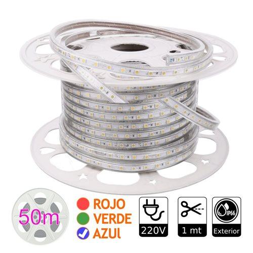 Tira de led 220V AZUL exterior 10w metro bobina 50 metros