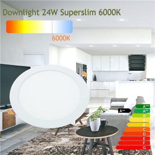 Downlight led 24W 6000ºK redondo empotrar blanco