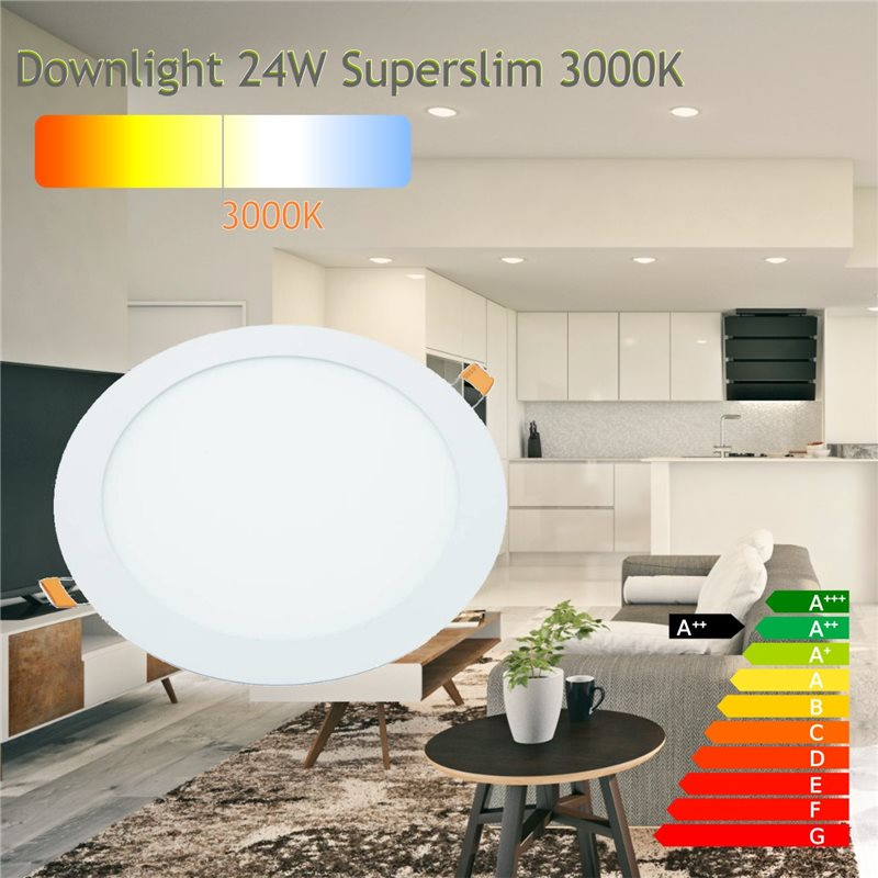 Downlight led 24W 3000ºK redondo empotrar blanco