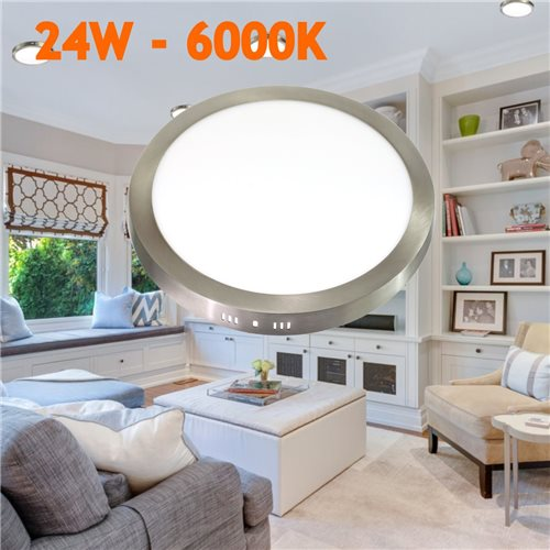 Downlight led 24W 6000K redondo superficie acabado acero