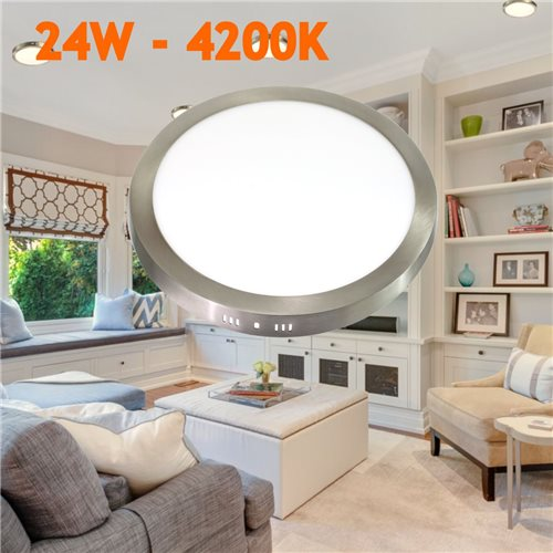 Downlight led 24W 4200K redondo superficie plateado
