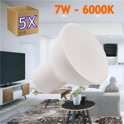 pack 5 Bombilla led GU10 7W 6000K frio 50 mm