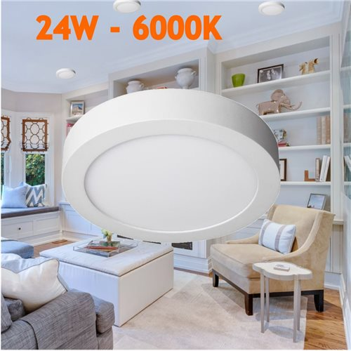 Downlight led 24W 6000ºK redondo superficie blanco