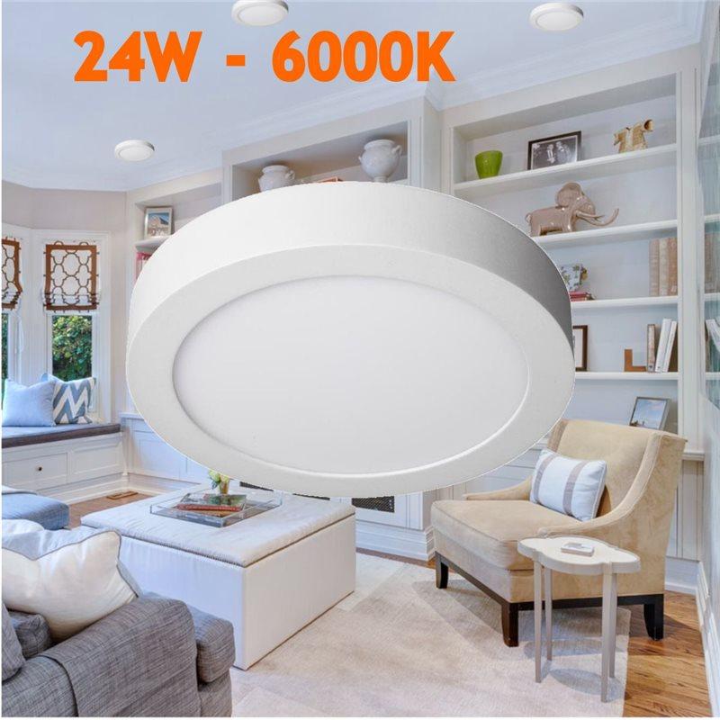 Downlight led 24W 6000ºK redondo superficie blanco