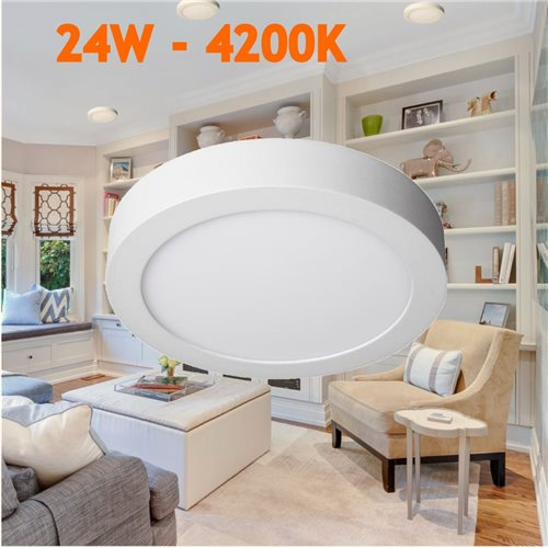 Downlight led 24W 4200ºK redondo superficie blanco