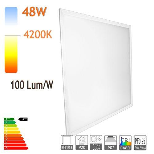 Panel led 60 x 60 cm 48W 4200K marco blanco 100lm/W PF0.9