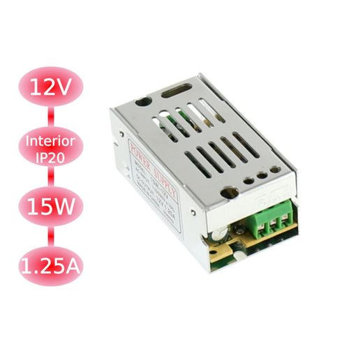 Trasformador 12VDC 1,25A-15W de interior IP20