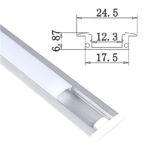 Perfil Aluminio Tira Led 2m Empotrar Tapa Traslúcida 24,5x17,5mm
