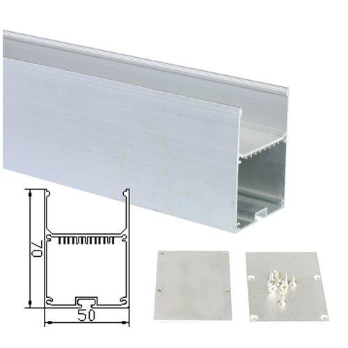 Perfil aluminio tira led 2 metros lampara colgante 50*70mm con tapa