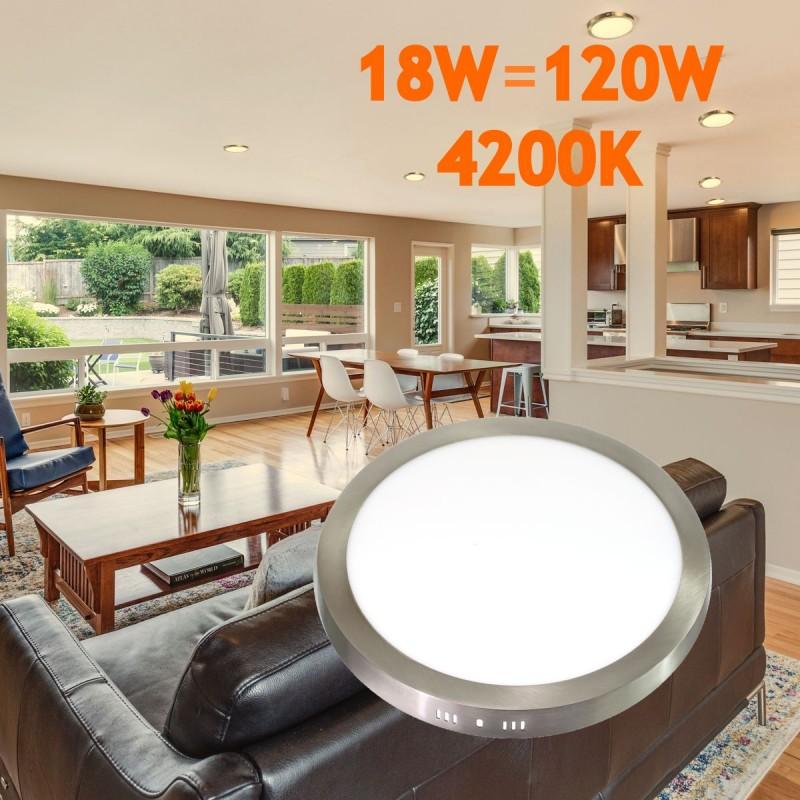 Downlight led 18W 4000ºK redondo superficie acabado acero