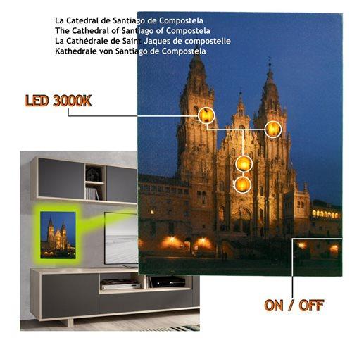 Cuadro con 4 Led Catedral Santiago Compostela 40 x 30, 2 pilas AA