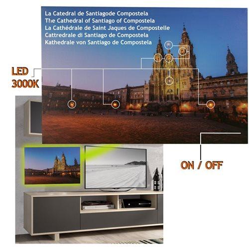 Cuadro con 8 Led Catedral Santiago Compostela 60 x 40, 2 pilas AA