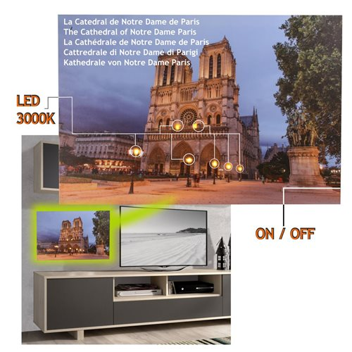 Cuadro con 8 Led Catedral Notre Dame  60 x 40, 2 pilas AA