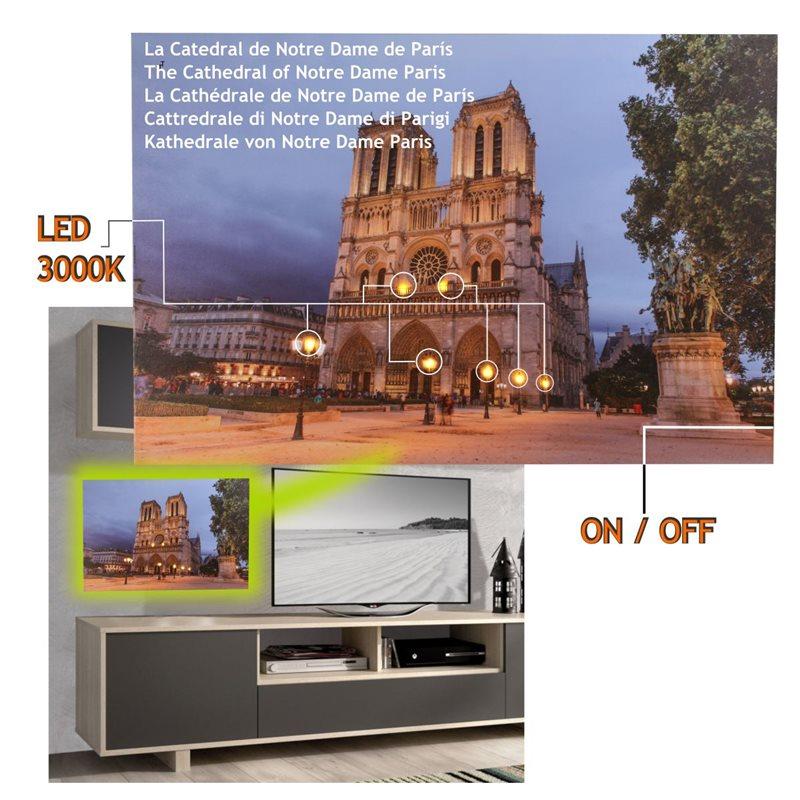 Cuadro con 8 Led Catedral Notre Dame  60 x 40, 2 pilas AA