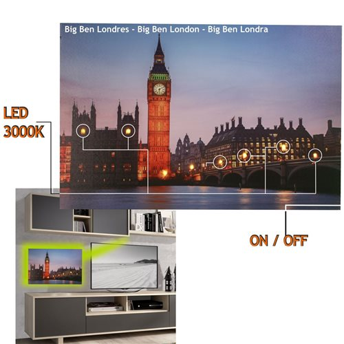 Cuadro con 8 Led torre Big Ben Londres  60 x 40, 2 pilas AA