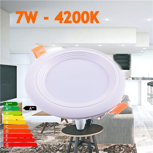 Downlight LED oceano redondo empotrar 7W 4200K marco blanco PF0,95
