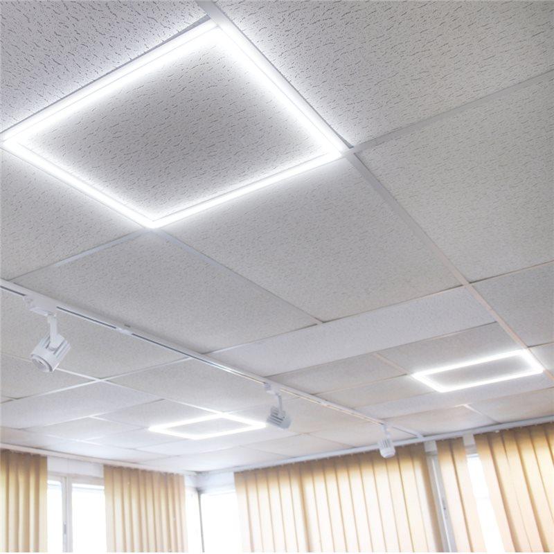 Marco luminoso led blanco frio 6000K 48W panel falso techo 60x60 2 unidades