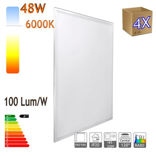 Panel LED 60x60cm 48W X4,retroiluminado 48W 6000K blanco