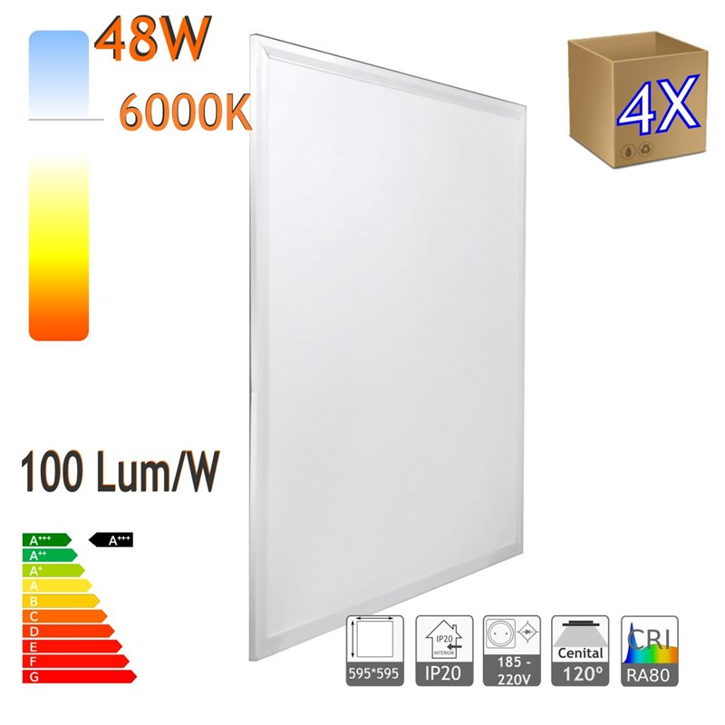 Panel LED 60x60cm 48W X4,retroiluminado 48W 6000K blanco