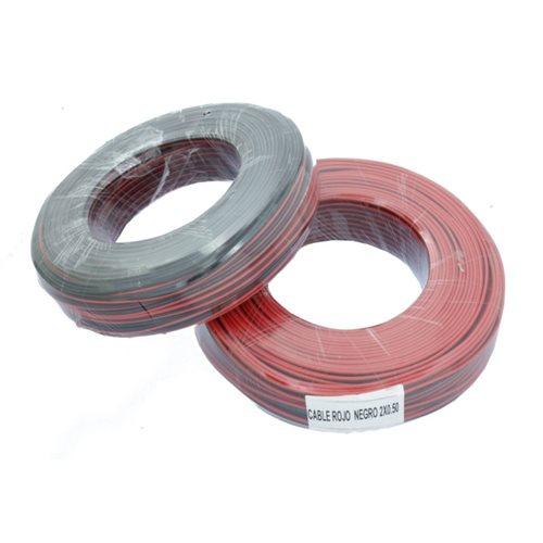 JND-SRN Cable paralelo rojo negro de 2x0,5mm² para tiras led y electrónica