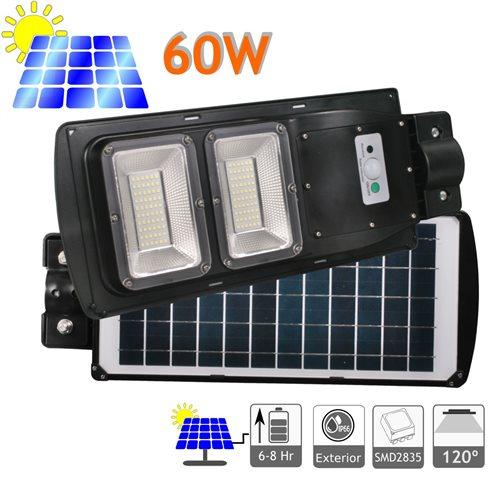 Farola LED 60W Solar Exterior 120 LED 6500K Blanco Frío Ion-Litio mando distancia