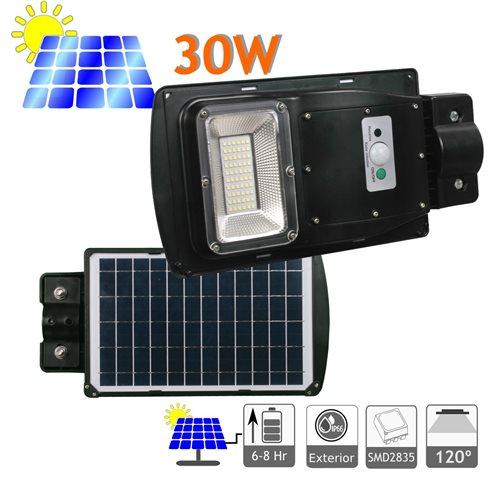 Farola LED 30W Solar Exterior 60 LED 6500K Blanco Frío Ion-Litio mando distancia