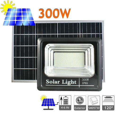 Proyector LED solar 3800 Lúmenes 300W panel orientable exterior mando a distancia