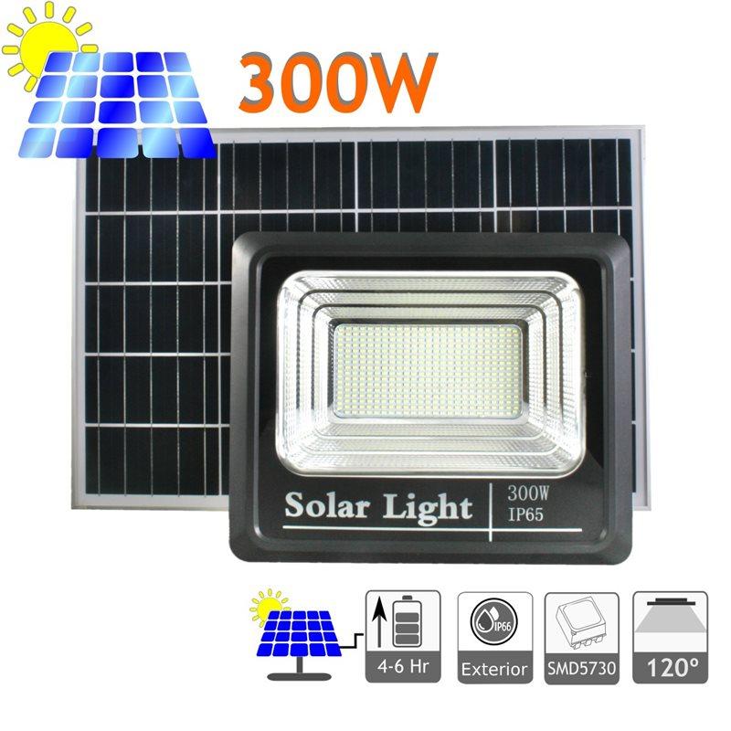 Proyector LED solar 300W panel orientable exterior mando a distancia