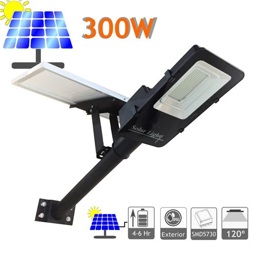 Farola LED 300W Solar Ion litio IP65 Panel Orientable 600 LED 4000 Lúmenes 6000K