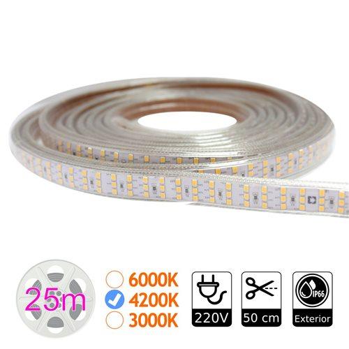 Tira led triple 4200K 276 led metro 220V exterior bobina 25m
