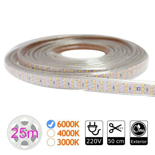 Tira led triple 6000K 276 led metro 220V exterior bobina 25m